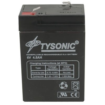 Tysonic TY-6-4.5 Rechargeable Battery, Sealed Lead Acid, 6 V, 4.5 Ah, 107 mm H x 47 mm W x 70 mm L