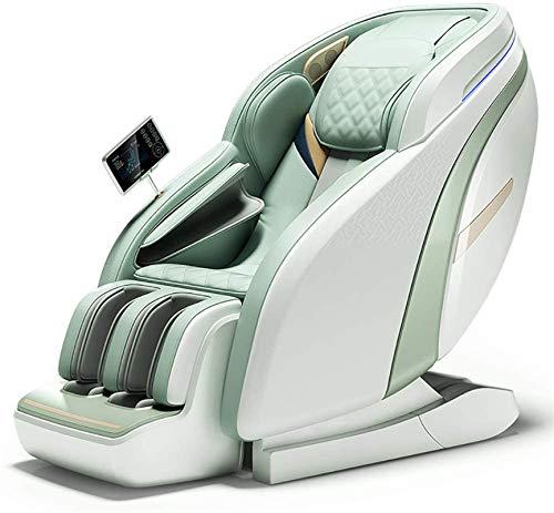 ZAMAX Silla de masaje inteligente, masaje automático de lujo con gravedad cero 4D, sofá Full Body SL multifuncional con función de iones negativos, azul, silla de masaje para adultos (color verde)