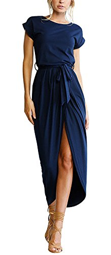 Yidarton Women's Casual Short Sleeve Slit Solid Party Summer Long Maxi Dress (Large, Navy-1)