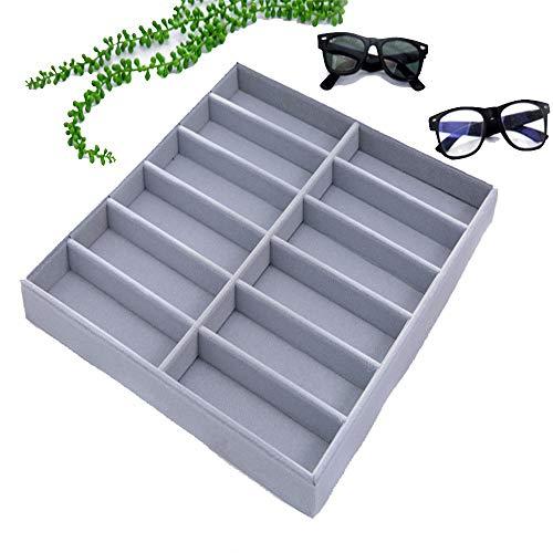 Yamyannie Caja de Almacenamiento de Gafas Madera de 12 Gafas de Sol de la Rejilla Caja de exhibición de Gafas de Sol Pantalla exhibición de los vidrios para Gafas (Color : Gris)