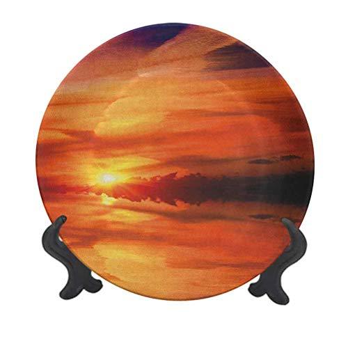 Nature - Plato decorativo de cerámica para colgar (20,32 cm), diseño de nubes de cielo en el horizonte del lago Crepúsculo, escena cremosa