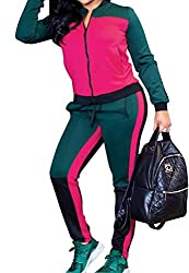cfzsyyw Womens 2 Pieces Tracksuits Sports Zip up Jacket and Pants Outfits