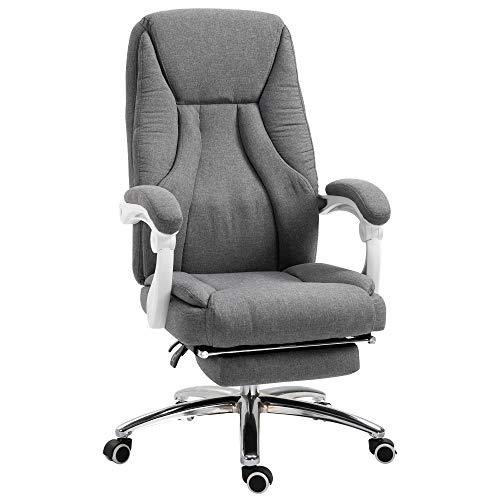 Vinsetto Bürostuhl massage, Chefsessel mit Massagefunktion, Gaming Stuhl, höhenverstellbarer, ergonomischer Drehstuhl, Massage Sessel, Nylon, Grau, 62 x 67 x 113-120 cm