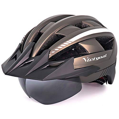 Victgoal Bike Helmet for Men Women with Led Light Detachable Magnetic Goggles Removable Sun Visor Mountain & Road Bicycle Helmets Adjustable Size Adult Cycling Helmets (Ti)