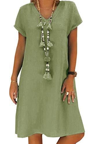 Yidarton Sommerkleid Leinen Kleider Damen V-Ausschnitt Strandkleider Einfarbig A-Linie Kleid Boho Knielang Kleid Ohne Zubehör(Grün,3XL)