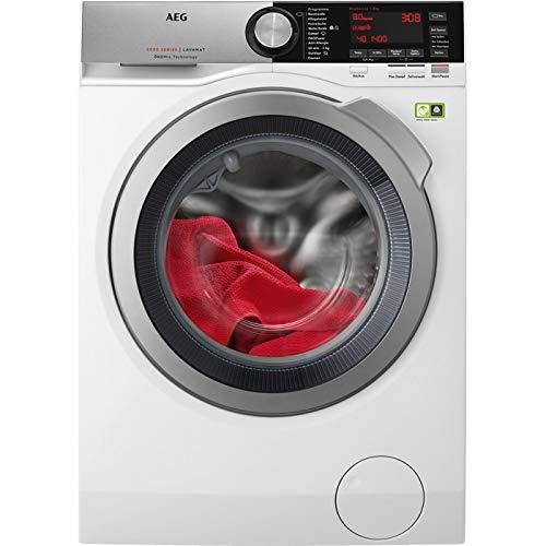 AEG L8FE86484 Waschmaschine Frontlader / 8 kg ProTex Schontrommel/Mengenautomatik/Dampfprogramm/ÖkoMix-Technologie schützt sensible Stoffe/weiß und silber / 157,0 kWh pro Jahr