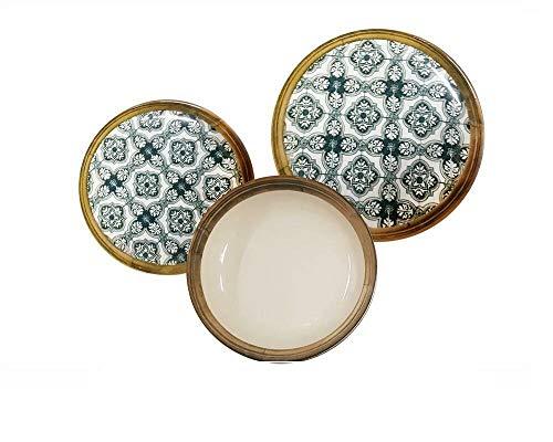 REPLOOD Vajilla de 18 piezas para 6 personas de porcelana, modelo Deco' L 193