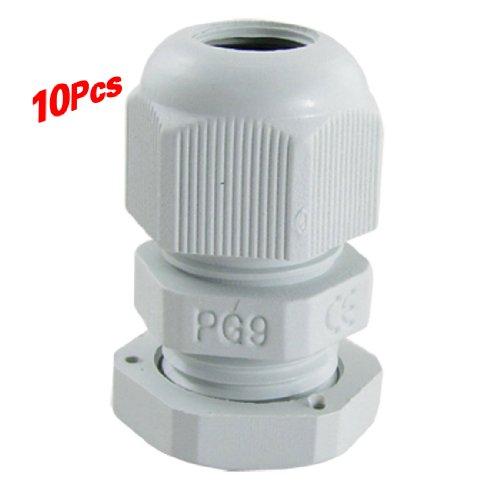 TOOGOO(R) 10 Stueck PG9 weisse Kunststoff-Wasserdichte Kabelverschraubungen Gelenke