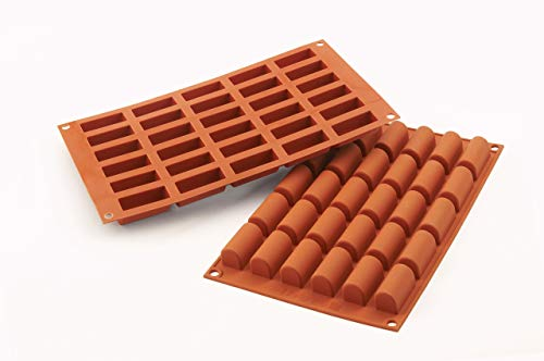 silikomart 26.129.00.0060SF129Backform Mini-Bûche, 30Mulden, Silikon, Terrakotta