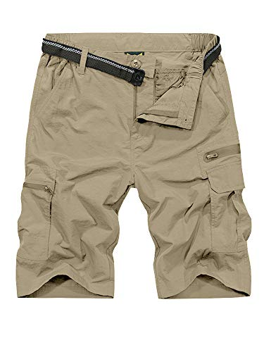 Jessie Kidden Mens Outdoor Casual Expandable Waist Lightweight Water Resistant Quick Dry Fishing Hiking Shorts #6222-Khaki,34