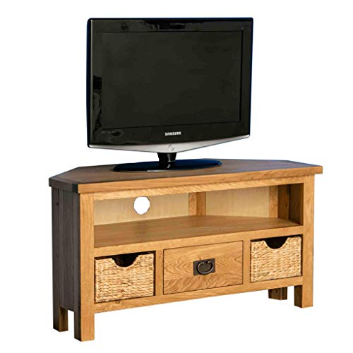 Surrey Oak Corner TV Unit with Baskets | Traditional Rustic Waxed 100 cm Solid Wood Television Cabinet Stand Suitable for TVs up to 45 inches for Living Room or Bedroom
