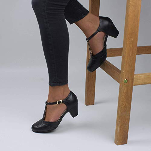 Damen Mitte Blockabsatz T-Riemen Ausgeschnitten Brogues Pumps Sandalen Größe 5 38 - 5