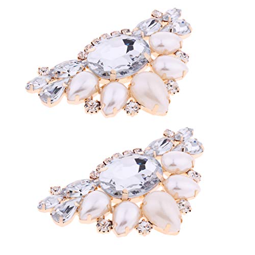 Harilla Triángulo Perla Diamante de Imitación Cristal Fiesta Clip de Zapato Nupcial Decoraciones Artesanales de Bricolaje 2X