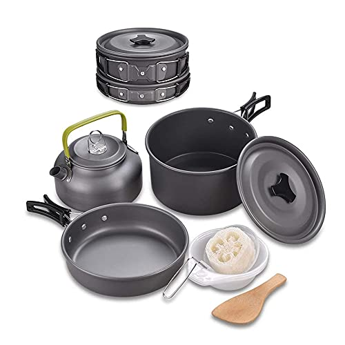 Camping Cookware Mess Kit, Outdoor Cookware Set with Mesh Bag, Nonstick Aluminum Cooking Pot Pan Kettle for Hiking and Picnic (PotPanKettle)