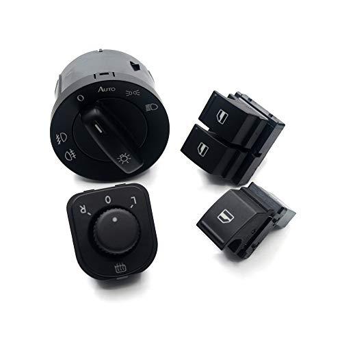 NAWQK Botón de Interruptor de Espejo de Windowlight de 4set 5kd 941 431b 1k0 959 565h 1k3 959 857a 1k3 959 855 Fit for EOS Golf 5 6 GTI FIT FOR PA * SS * en CC