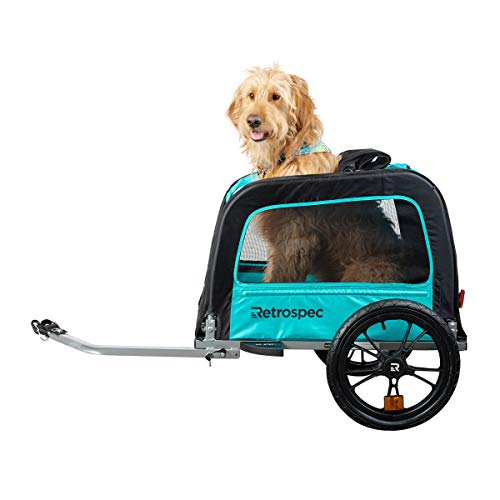 Retrospec Rover Waggin Pet Bike Trailer, Small and Medium Sized Dogs Bicycle Carrier, Foldable with 16 Inch Wheels; Teal, One Size (3608)