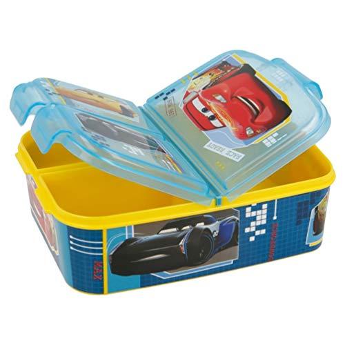 Cars Kinder Premium Brotdose Lunchbox Frühstücks-Box Vesper-Dose mit 3 Fächern BPA-FREI