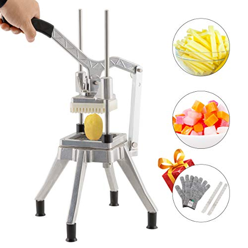 Tuntrol Commercial Second Generation Vegetable Dicer 0.25 inches Blade Quick Slicer Machine Stainless Steel Easy Chopper Dicer for Onion Tomato Pepper Potato Mushrooms (1/4' Blade)