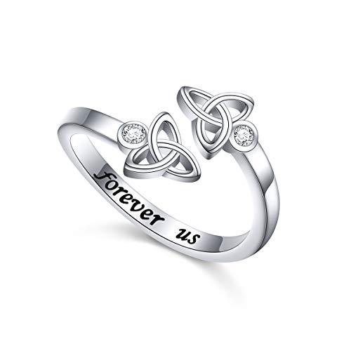 925 Sterling Silver CZ Forever Us Irish Love Knot Celtic Engagement Rings for Women Tenn Girls Size 7
