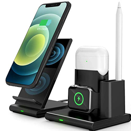 DIGIBLUSKY Wireless Charger 4 in 1 Wireless Charging Station Charger Stand Qi-Enabled Fast Charging Dock for iPhone 12/11/11Pro/11 Pro Max/XS/XR/X/8/8 Plus, iWatch Series 6/5/4/3/2, AirPods 2/Pro