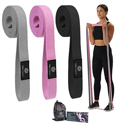 Premium Long Fabric Resistance Bands Set for Home Exercise Gym Full Body Workout Fitness Resistance Bands for Women Men Set of 3 Different Resistance Levels Stretch Bands TrainingPilatesYoga