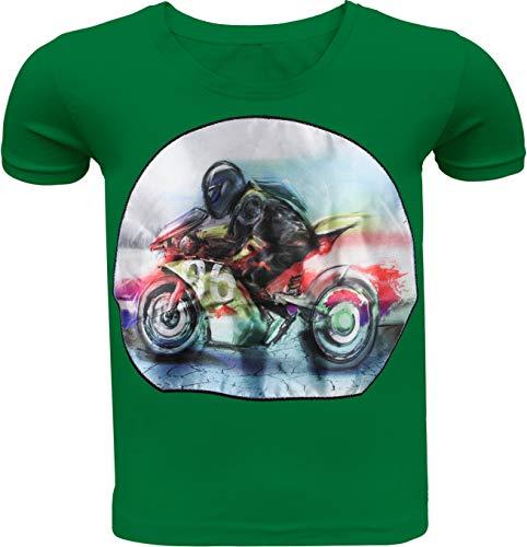 Auto Motorrad Kinder Jungen T-Shirt LED Kurzarm Shirt Hemd Polo Rundhals Freizeit (110-116, Grün Motorrad)