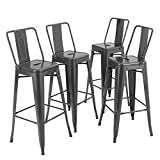 PHI VILLA Metal Patio Bar Stools Set of 4, 30 inches Counter Height Stools with High Back, Industrial Style Bar Chairs for Indoor & Outdoor, Pub, Kitchen Island - Grey