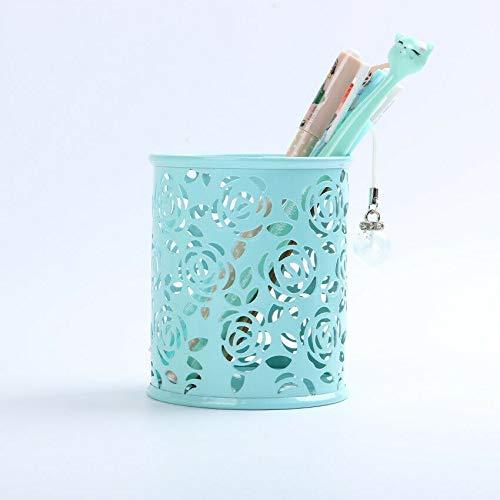 Portabolígrafos Porta lápices para escritorio, 1 bote redondo para lápices para oficina, organizador de almacenamiento en el hogar (azul)