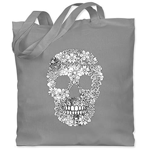 Shirtracer Rockabilly - Totenkopf Blumen Skull Flowers - Unisize - Hellgrau - stoffbeutel in rot - WM101 - Stoffbeutel aus Baumwolle Jutebeutel lange Henkel