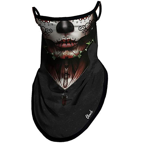 Obacle Bandana Face Mask with Ear Loops Neck Gaiter Face Mask Scarf Face Cover for Men Women (Women Red Lips Leaf Face)