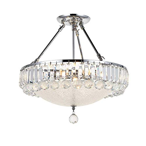 HTLLT Round Crystal Chandelier, Modern Clear K9 Brilliant Crystal Ceiling Light Flush Mount Pendant Lamp Fixture for Dining/Living Room Bedroom Stairway Hotel E14X5 Bulbs Required s
