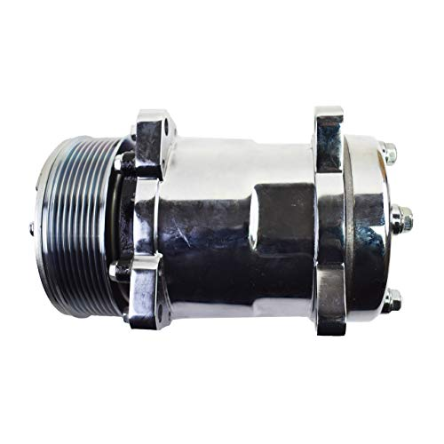 A-Team Performance Sanden 508 Style Silver Clutch Serpentine 7 Groove Universal Air Condition AC Compressor, Chrome