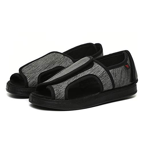 Willsky Zapatos diabéticos para Hombres, Espuma de Memoria Zapatillas para diabéticos Unisex Punta Abierta Ancho Ajustable Velcro Artritis cómoda Edema Zapatos hinchados,34