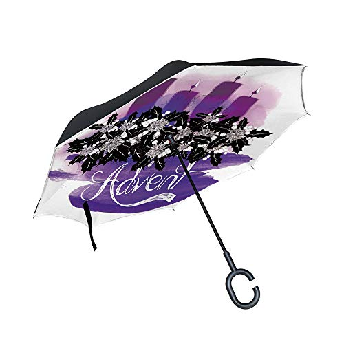 C COABALLA Auto Open Inverted Umbrella Four Burning Candles, Christmas Time Abstract Art Watercolor Illustration UV Protection Umbrella for Car Rain Outdoor with C-Shaped Handle SW46523