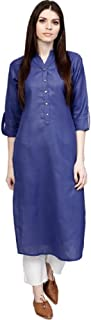Women Navy Blue Solid Color A-Line Straight Tunic Kurta Tops Long Dress Kurti for Girl - 09