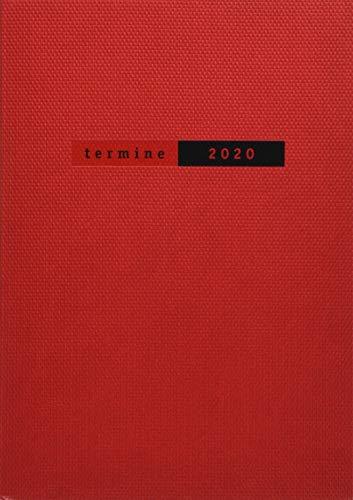 Terminer A5, Struktur rot. Taschenkalender 2020. Wochenkalendarium. gebunden. Format 15,2 x 21,5 cm