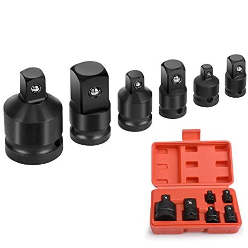 "Juego de adaptadores de enchufe de impacto, adaptadores de llave de enchufe, adaptador reductor de 6 piezas para convertidor de zócalo de 1/4"" 3/8"" 1/2"" 3/4"""