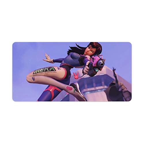 Extended Large Gaming Mouse Pad Compatible with Overwatch D.Va Character Non Slip Water-Resistant Rectangular Computer Mice Pads with Stitched Edge Rubber Base for Work Gaming Office Home 11.8'x23.6'