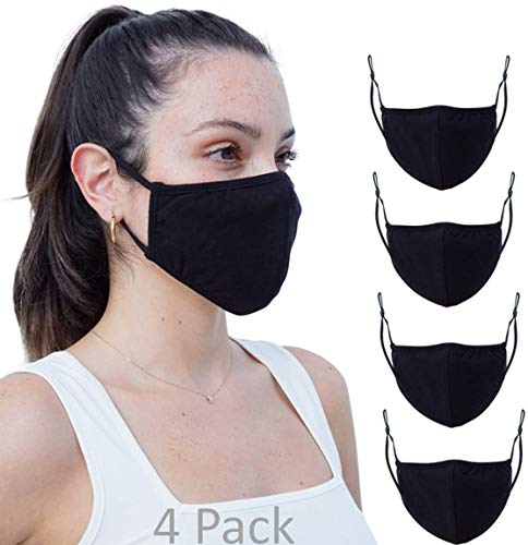 4 Pack Daily Reusable Face Cover Washable Double Layer Facial Cover, Made in USA… (4 Pk Black, One Size)