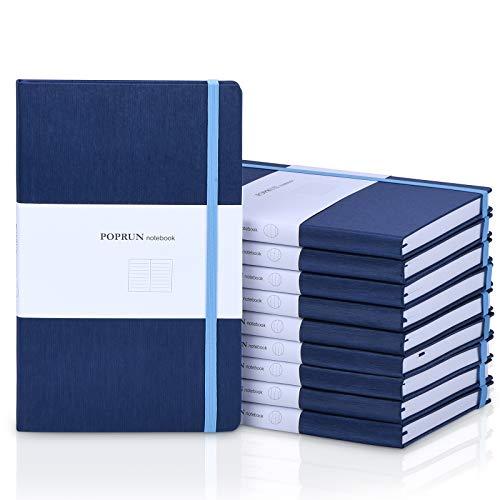 POPRUN Notizbuch Liniert Hardcover A5-80 g/m² Papier, 192 Seiten, 21 x 13 cm, Blau, 10er Pack