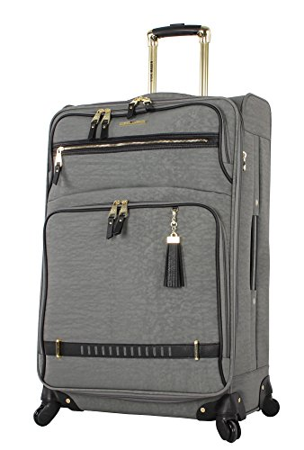 Steve Madden Designer Luggage - Checked Large 28 Inch Softside Suitcase - Expandable for Extra Packing Capacity - Lightweight Bag with Rolling Spinner Wheels (Peek-A-Boo Grey)