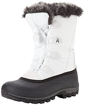 Womens snow boot, white with fur