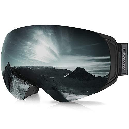 findway Skibrille für Brillenträger Herren Damen,Snowboardbrille mit Magnetischen Wechselgläsern, Schwarz Verspiegelt Snowboard Brille Magnet Brillenträger Polarisierend