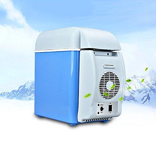 PARAMITA réfrigérateur de voiture 12 V Contenance de 7.5L Camping Glacière portable de voiture réfrigérateur Cooler et chauffe réfrigérateur électrique pour voiture camion Bateau de voyage (Bleu-7.5L)