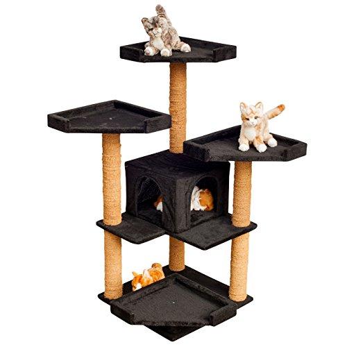 VOSS.PET Katzenkratzbaum - Hochwertiger Kletterbaum für Katzen Sylvester Schwarz mit Einer großen Komfortablen Katzenhöhle, Höhe: 114 cm, mit Robustem Kokosseil