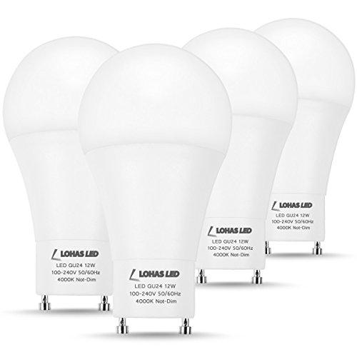 LOHAS GU24 Base LED Bulb, 1200Lumen Neutral White 4000K LED, 12Watt 75W-100W Halogen Light Equivalent, Twist Lock GU24 Base Bulb for Home Lights, A19 Shape for Ceiling Fan Light, Non-Dimmable,4 Pack