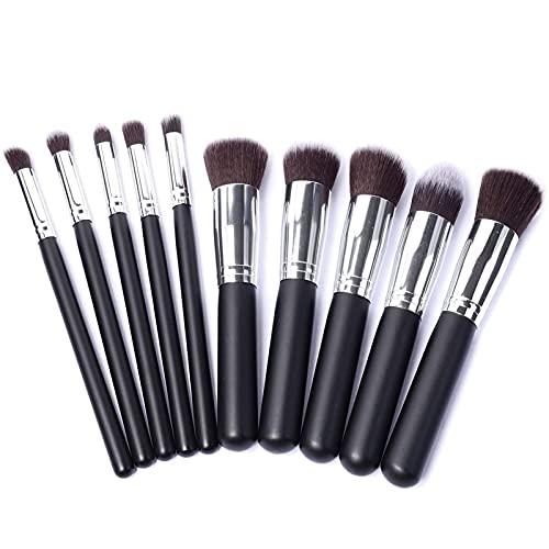 Kit de pincéis de maquiagem, 10 peças, kit de pincéis de maquiagem, kit de ferramentas de pincel, delineador de olhos, macio, natural, sintético (tamanho : preto + prata)
