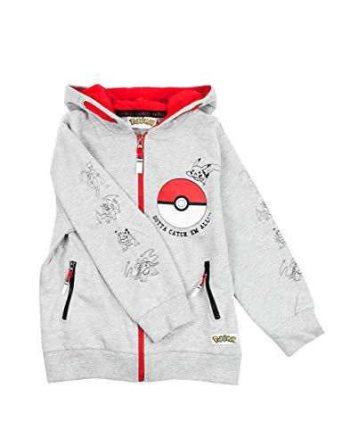 Pokemon Boys Hoodie Zip Up Grey Long Sleeve Hooded Sweater 9-10 Years