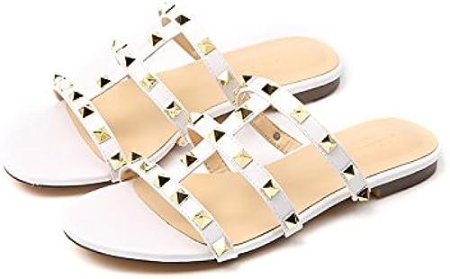 AWXJX Tongs Femme Chaussures été Pente Fond épais Talon Haut Blanc B 5.5 US 35.5 EU 3 UK
