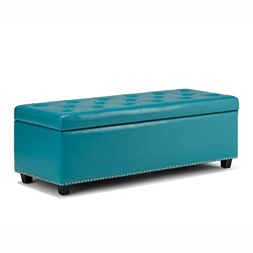 SIMPLIHOME Hamilton 48 inch Wide Rectangle Lift Top Storage Ottoman in Upholstered Mediterranean Blue Tufted Faux Leather with Large Storage Space for the Living Room, Entryway, Bedroom, Traditional